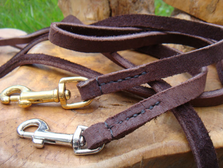 Hand-Made Brushed Leather Dog Lead